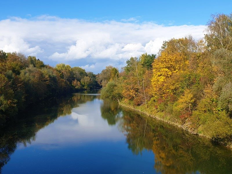 Die Iller bei Dietenheim im Herbst.